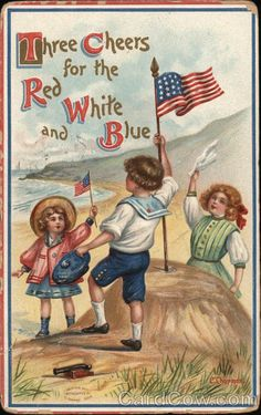 Patriotic illustration, by Cyrus Durand Chapman – American) I Love America, God Bless America, America America, Declaration Of Independence, Independence Day, Happy 4 Of July, Fourth Of July, Vintage Cards, Vintage Postcards