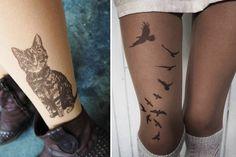 A meia calça que deixa uma tatuagem temporária nas pernas