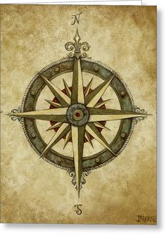 Compass Rose Greeting Card by Judy Merrell