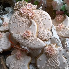 Pumpkins & witch's hat in pretty pink lace & blossoms by Teri Pringle Wood