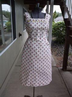 """XXL/1940s/Day Dress/Ecru/Gold/Red/Black/Lime Green/Geometric Print/Waist 36"""".. #Handmade"""