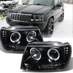 Black 99-04 Jeep Grand Cherokee Halo Angel Eye Led Projector Headlight 1999-2004 | eBay Motors, Parts & Accessories, Car & Truck Parts | eBay!