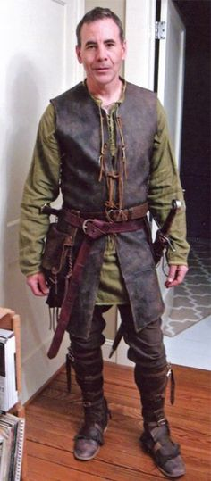 Medieval Woodsman outfit Front-on view.Medieval Woodsman outfit Front-on view.
