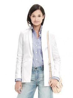 Banana Republic Womens Pique Blazer Tall – White