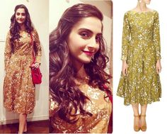 GET THIS LOOK: Sonam Kapoor looks ultra chic and stylish in a Printred V neck pleated frock by SHIFT. Shop now: http://www.perniaspopupshop.com/designers/shift-by-nimish-shah