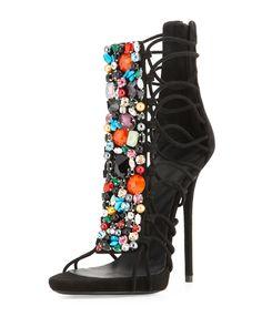 Giuseppe Zanotti Jeweled Suede T-Strap Sandal/Bootie, Black/Multi