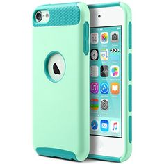 ULAK [Colorful Series] 2-Piece Style Hybrid Hard Case Cover for Apple iPod touch 5 6th Generation (Light Blue+Blue)