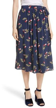 6638eeaeea2a2 Joie Almudena Cherry Print Silk Wrap Skirt Tie Skirt