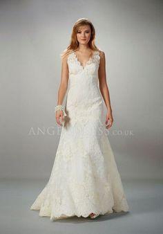 lace sleeveless wedding dresses | Lace A line Straps Floor Length Zipper up Sleeveless Wedding Dresses # ...