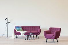 Featured: Anders Sofa in Raspberry, Anders Chair in Raspberry, Roto Medium Stool, Roto Small Stool, Klassik Floor Lamp, Alpaca Throw, Brostein Throw Pillow #ilovescandis #scandis #interiordesign #furniture #decor #scandinavian