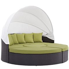 Modway Furniture Modern Convene Canopy Outdoor Patio Daybed EEI-2173 Gather stages of sensitivity with the Convene outdoor sectional series. Made with a synthetic rattan weave and a powder-coated alum
