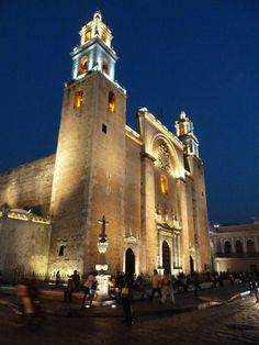 Night view of Cathedral. Merida, Yucatan, MEXICO.