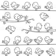 Illustration of Set of Line Art Cartoon Birds vector art, clipart and stock vectors. Bird Drawings, Doodle Drawings, Doodle Art, Easy Drawings, Vogel Clipart, Bird Clipart, Mundo Hippie, Fourth Of July Crafts For Kids, Draw
