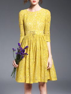 Shop Midi Dresses - Yellow Crew Neck Crocheted Girly Midi Dress online. Discover unique designers fashion at StyleWe.com.