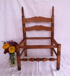 Primitive Antique Hand Turned Maple Child's Chair Frame with Spindles Shabadashery. Antiques and Collectibles in Troy, New York.