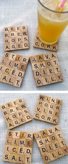 Crafty/DIY / scrabble drink coasters on imgfave Scrabble Coasters, Diy Coasters, Scrabble Letters, Scrabble Crafts, Homemade Coasters, Wooden Letters, Scrabble Image, Glass Coasters, Diy Home