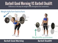 Barbell Deadlifts or Barbell Good Morning, Which Works Your Glutes and Hamstrings More? Difference between these two lower body barbell exercises is the weight shift that occurs during the exercise.