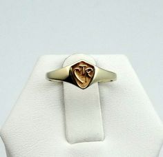 Vintage 14k Yellow Gold CTR Shield Ring by rubysvintagejewelry