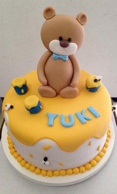 #Bolo #Chádebebê #Urso #mel #Bear #Honey #Fondant #Cake