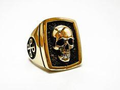 Phantom ring, Skull ring, Brass Style Heavy Biker Harley Rocker Men's Jewelry, The F4 PHANTOM Lee Falk (BR-32)