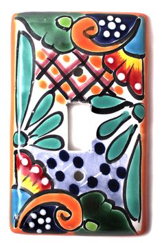 MEXICAN TALAVERA POTTERY SINGLE TOGGLE SWITCH PLATE TTSP015 More At FOSTERGINGER @ Pinterest Talavera Pottery, Ceramic Pottery, Mexican Folk Art, Mexican Style, Pottery Painting, Ceramic Painting, Mexican Kitchens, Santa Fe Style, Hacienda Style