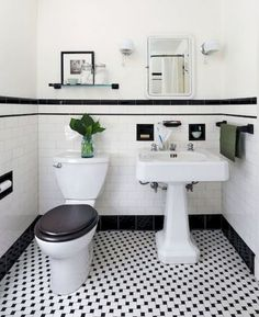Vintage Bathroom Tile Ideas Lovely 31 Retro Black White Bathroom Floor Tile Ideas and Pictures Black And White Bathroom Floor, Black White Bathrooms, White Bathroom Tiles, Bathroom Tile Designs, Bathroom Floor Tiles, Kitchen Floor, Wall Tiles, Subway Tiles, Black Floor