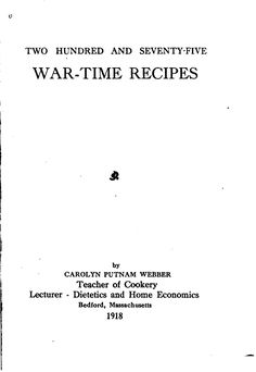 Two hundred and seventy-five war-time recipes