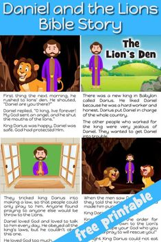Daniel and the Lion's Den Bible story for kids - Free printable