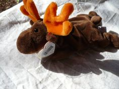 Brown Moose, Stuffed Animal, Vintage Toy, Nursery Decor, Marty the Moose, Moose Plushie, Geeky Toys, Chocolate Moose, Woodland Nursery by MarketsofSunshineFL on Etsy $7
