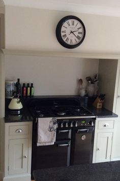 The beaded, hand painted cream cabinets combined with planted plinths, black worktops and black accessories create a modern feel in this customer's kitchen. The large island has a breakfast area fitted at one end making the most of the rectangular shaped room.  New Kitchen, Kitchen Ideas, Cream Cabinets, Handmade Kitchens, Painting Kitchen Cabinets, Work Tops, Black Kitchens, Bricks, New Homes