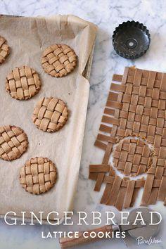 gingerbread lattice cookies - weave the dough! so cute.