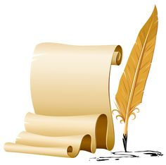 Scrolled and Quill Pen PNG Image
