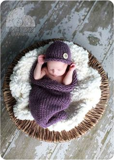 Baby Cocoon and Hat set in Dusty Purple