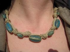 Cotton linen string necklace and turquoise ceramic by khaliweb, $30.00