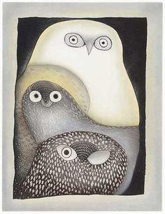 Ningeokuluk Teevee Owls in Moonlight,Inuit prints from Cape Dorset at Home & Away Gallery Inuit Kunst, Arte Inuit, Inuit Art, Native Art, Native American Art, Flowers Wallpaper, Kunst Der Aborigines, Illustration Art, Illustrations