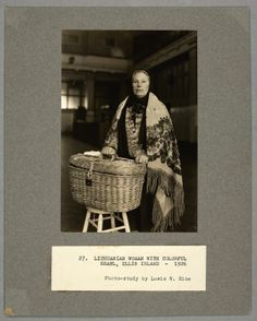 I love this photo. It not only shows a Lithuanian woman just arriving at Ellis Island for the first time, but we see that all her possessions seem to be wrapped up in that beautiful basket. Love it. ellisportraits