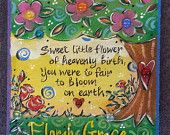 Child's Sympathy, Garden Stone, Baby Sympathy for kids ? Painted Pavers, Painted Rocks, Hand Painted, Painting Concrete, Stone Painting, Garden Crafts, Garden Art, Grieving Quotes, Stone Pictures