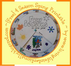{FREE} 4 Season Spin Printable - great for teaching about seasons & months
