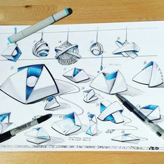 #doodles of some #light housings using overlaying #geometricshapes.