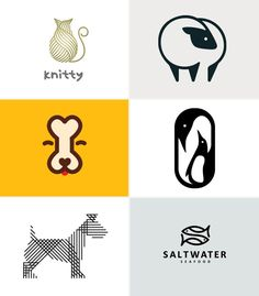 6 Logos - Animals   Vale Design. - i like how both the cat and dog are represented by items stereotypical to the animals; the bone for the dog and the yarn ball for the cat. all the logos seen here use strong lines and contrast to make them bold and stand alone. Also all the logo's use stylized drawings and they dont look realistic