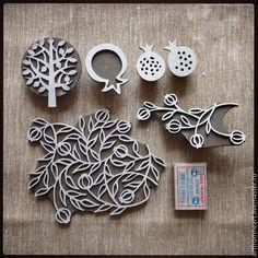 Другие виды рукоделия ручной работы. Ярмарка Мастеров - ручная работа. Купить Набор штампов для печати на ткани ГРАНАТ. Handmade.