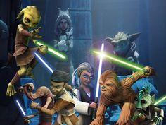 En esta imagen vemos un grupo de nuevos padawans( Katooni, Petro, Gungi, Zatt, Byph y Ganodi) junto a Ashoka Tano y el gran maestro Yoda