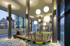 entrance hall Science Park, studenthousing Amsterdam. Nice wooden furniture