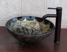 Bathroom Artistic Glass Vessel Vanity Sink with Oil Rubbed Bronze FAUCET9136E | eBay