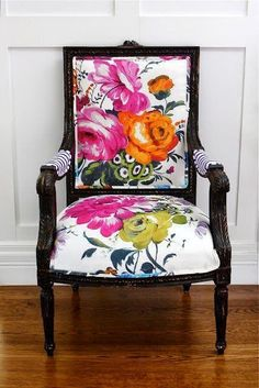 Simple DIY: Upholstered Office Chairs - Floral with stripe side chair.