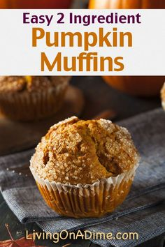 Easy 2 Ingredient Pumpkin Muffins Recipe - Super Simple 2 Ingredient Recipes