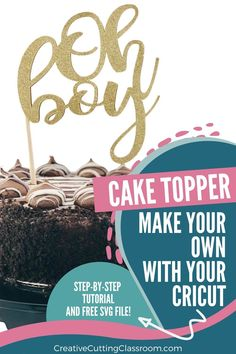 Make your own cake topper with your Cricut machine! Here is a step-by-step tutorial to show you how. #Cricut #CricutMaker #CricutExplore #CricutJoy #CricutDesignSpace #CricutProjects #CricutTutorial #CakeTopper #DIYCakeTopper Vinyl Projects, Diy Craft Projects, Project Ideas, How To Use Cricut, Cricut Help, Diy Cake Topper, Cake Toppers, Cricut Tutorials, Cricut Ideas