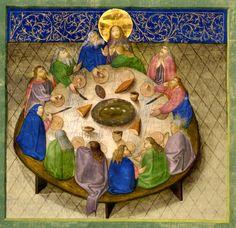 Ultima cena - 1430 - Bibbia miniata di Otthaynrih, considerata la prima edizione tedesca di questo genere, che mostra, come vuole la tradizione orientale, una tavola rotonda.