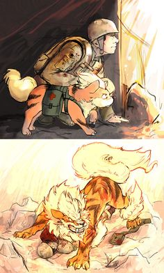 and Arcanine have always been my favourites Growlithe and Arcanine - It's friendly and loyal Pokemon that will fearlessly defend its trainer.Growlithe and Arcanine - It's friendly and loyal Pokemon that will fearlessly defend its trainer. Pokemon Comics, Pokemon Memes, Pokemon Fan Art, Gladio Pokemon, Pokemon Funny, Pokemon Stuff, Equipe Pokemon, Pokemon Pictures, Cute Comics