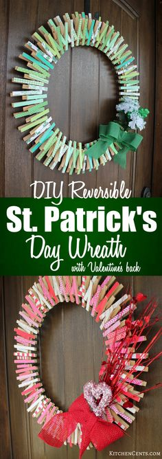 DIY Reversible Clothespin St. Patrick's Day Wreath